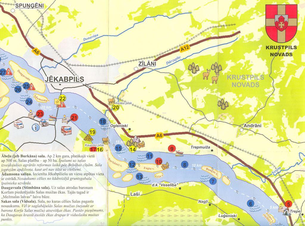 Krustpils novada karte bukletam Daugavas Baltās kraces