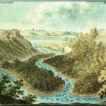 PĒRSE uz Daugavu. Tālumā Sēlijas krasts, bijušo Upjāņu lauki. J.K.Broce 1796