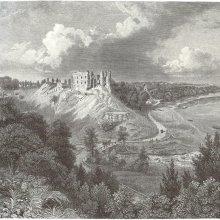 """PĒRSES ieteka, aiz drupām tālumā vidū Krievkalns, """"Likteņdārzs"""". Stefenhāgens 1866"""