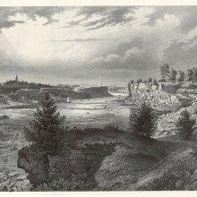 Pirms OLIŅKALNA, kreisā krastā Sēlpils baznīcas tornis, vidū pilsdrupas. Stefenhāgens 1866