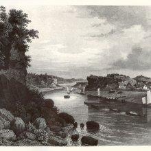 Skats pret straumei, Priekšplānā Dūņu lejas gals, Oliņkalns. Stefenhāgens 1866