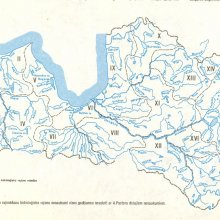 Upju ūdensguves, jeb hidroloģiskie rajoni. (Atšķiras no sateces baseiniem).